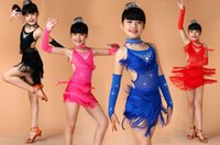 Wholesale Hot sale Girls Kids children Black Blue Red Sequin dress Fringe Salsa Dancewear Dance Costume Salsa Dance Dresses ballroom dress tassels