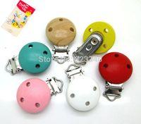 baby pacifer - Baby Pacifier Clip Mixed Color Kawaii Round Pacifier Clip Wood Pacifier Clips x44mm Clip Attache Sucette Pacifer Hoders