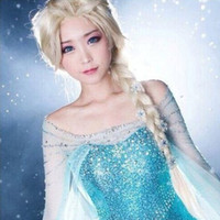 Wholesale New Film Snow Queen Princess Elsa Long Curly Blonde Movie Cosplay Hair Wig for Women Girl Blonde Braid Cosplay Anime Hair Wig