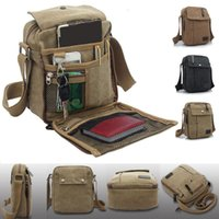 Wholesale Mens Canvas Leather Satchel School Military Shoulder Bag Messenger Bag