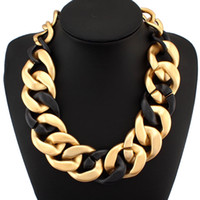 Wholesale New Exaggerated Temperament Women Statement Jewelry Fashion Wide Acrylic Chain Chunky Chokers Necklaces Pendants CE1749