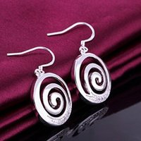 Wholesale F10554 JMT pair Tornado Design Silver Plated Round Drop Earrings Jewelry Best Gift For Ladies FreePost