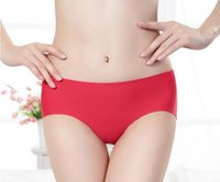Wholesale SexyHome High quality Ms a chip ice silk underwear non trace female waist pure color of pure cotton cloth women underwear