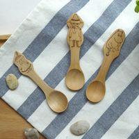 ECO Friendly baby flatware - MUXING Cartoon MoominValley Spoons Baby Meal Spoon Children Ice Cream Spoons cm Burlywood Solid Wood Flatware MOQ Piece