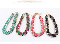 achat en gros de collier coloré-National Weave Colorful BEADS COLLIERS Lady Vintage Colliers Handwork Multi Strands Colliers Colliers Knitted Necklaces 10pcs beaucoup # 59