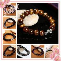 lava rock - Natural Stone Agate Tiger s eye Blue Sandstone Lava rock Cross Bracelets Bangle Women Bracelets MM Beads Bracelets for Men