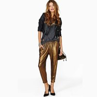Cheap SKY 2015 Women's New Fashion shiny gold harem pants Really Slim stretch elastic waist pantyhose