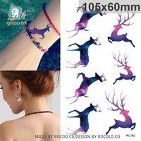 beautiful tattoo designs - harajuku waterproof temporary tattoos for women Beautiful Colors run deer design flash tattoo sticker RC2262