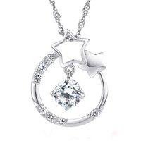 Wholesale AAA Silver Necklace White gemstone jewelry Shining Stars Necklaces amp Pendants Fine Jewelry