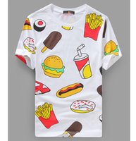 animal fast food - 2016 funny Fast food hamburgers Graphic Tees Men D T shirt Short Sleeve T Shirts For Men Shirt Cotton causal clothing