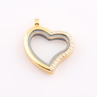 Cheap 30mm Crystal Heart Locket magnetic glass floating charm locket Zinc Alloy living locket origami owl locket pendant FEAL ZBE273
