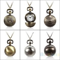 Wholesale 5 Colors Antique Retro Vine Ball Metal Steampunk Quartz Necklace Pendant Chain Small Pocket Watch For Gift V9