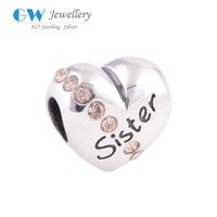Wholesale Heart charm beads for bracelets quot Sister quot family charms sterling silver fits European brand bracelets and necklace X121A