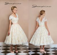 Wholesale 1950 s Tea Length Vintage Wedding Dresses V neck Short Sleeve Light Champagne Bridal Gowns Custom Made Short Reception Dress