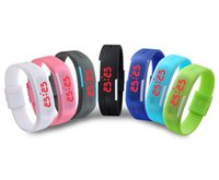Wholesale 2015 Sports Rectangle Led Digital Display Touch Screen Watches Rubber Belt Silicone Bracelets Wrist Watches Colors