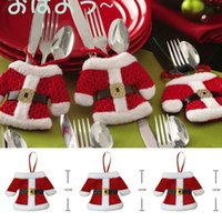 Wholesale Christmas Decoration Happy Santa Silverware Holders Pockets Dinner Embellishment Christmas Festivals Party Items
