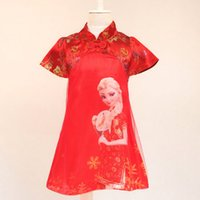 traditional chinese wedding dress - DHL free Girls Chinese Traditional Dress Summer Princess Girls Wedding Dresses Red Baby Girl Cheongsam Kids Dress Children Clothing for3T T