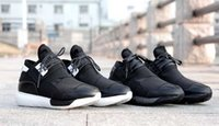 Wholesale FREE With Box Y New Hot Y3 Men Leather Sneakers Sports Shoes Black White MEN Running Shoes with box Trainers Boots