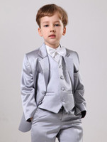 Wholesale Handsome Custom Made Suits Silver Satin Boys Suits Boys Wedding Suits Boy s Formal Wear Jacket Vest Pants q04