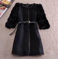 Wholesale New Arrival Winter Fur Coat Jacket Women Slim Outerwear O collar Single breasted Woolen Coat
