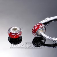 Wholesale Bubble Red Silver Plated Screw core Murano Glass bead lampwork beads charm beads for european Bracelets