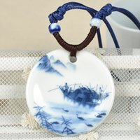 ancient ceramic art - Porcelain Chinese Ancient Art Paintings Flower Ceramic Statement Necklace Weave Band Pendants for Women Accessories F60SS0065