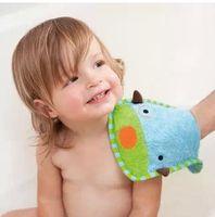 Wholesale New Bath Brushes Kids Baby Animal Design Bath Glove Children Boys Gilrs Cotton Gloves Wash Towel Free Drop Shipping