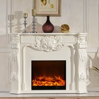 antique stoves - New Listing wood fireplace with decorative stoves flame simulation Continental white antique fireplaces F1 YY