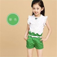 Cheap 2015 children sets baby clothes Special Retail 2015 Summer Korean children baby girl shorts suit sweet trend Set 3 color options