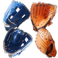 Wholesale 2016 New quot Youth Ball Glove Kid Baseball Glove Blue Brown g Banded Soft Foam Gloves best Birthday Gift E430J