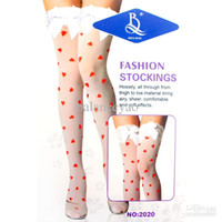 nylon stockings - Hot with heart shaped pattern stockings erotic lingerie knee high sexy white and black two colors stocking