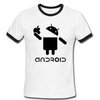apple logo shirts - Fashion Men T Shirts Android Robot fix Male t shirt apple humor logo printed t shirt personalized short sleeve Round Neck Ringer