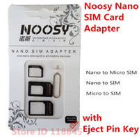 Wholesale 100pcs in1 Noosy Nano Sim Card Adapter Micro Sim cards adapter Standard SIM Card Adapter With Eject pin For Iphone samsung LG SONY