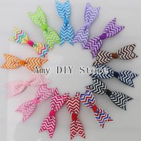 baby cheerleading - Grosgrain Ribbon Chevron Printed Hair Bows Baby Girls Pinwheel Cheerleading Bows Hair Accessories HJ066