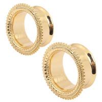 bali gold jewelry - Brass Gold Bali Mandala Ear Plug Tunnel Expander Gauge Stretcher mm Filigree Tribal Dreamcatcher Sun Body Jewelry