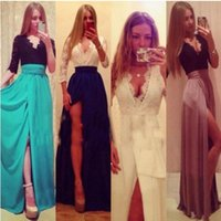 Spring / Autumn ladies chiffon fashion dresses - Women Sexy Deep V neck lace maxi dress Ladies fashion bandage stitching Split Evening Wedding Chiffon Prom Ball Cocktail Party Dress