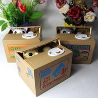 automated stock - 2015 New Arrive Cute Itazura Cat Steal Coin Bank Piggy Bank Money Saving Box Automated Models Kid Gifts Wholesales Discount Z00748