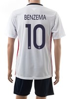 football set - 2015 France away BENZEMA Away Athletic Jersey Wear Discount Cheap Football Shirts With Shorts Fashion Sports Outdoors Soccer Sets