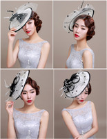 Wholesale New Arrival European style Retro Handmade Linen Netting Bow Feather Wedding Bridal Hat Hair Accessories For Women