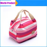 canvas lunch bag - Picnic Totes Bag lunch storage bag Thermal Insulated Portable Cool Canvas Stripe Carry Case high quality