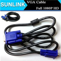 Wholesale 1 m Ft VGA Monitor M M Male To Male Extension Cable PC Data Pin Projectoer Connect Cord Cable Support P Full HD