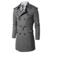 Men s woolen coat Preços-Os homens quentes longos de Breasted dobro do revestimento dos revestimentos de trincheira Slim de lã dos homens quentes da venda vestem a roupa dos homens