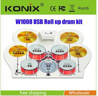 Wholesale USB electronic drum silicone drums electronic drum with drumsticks rollable Christmas Electronic Musical Instruments