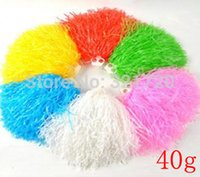 cheerleading pom poms - 40g plastic PE cheerleading pompoms pieces Cheerleader pom poms Color and handle can choose