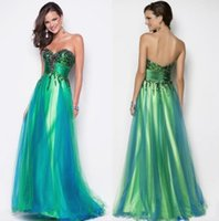 Cheap 2014 New Sexy Sweetheart Sequin Bodice Green Peacock Blue Tulle Pageant Gown Evening Party Dress Formal Floor length Blush Prom Dresses