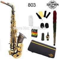 Eb alto saxophone accessories - EMS Genuine France Selmer Alto Saxophone Professional E Black Sax mouthpiece With Case and Accessories