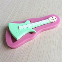 Cheap Hot-sale 3D Violin Silicone Mold Guitar Fondant Cake Decorating Tools Mould for Soap Pink Color