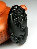 Wholesale Christmas gift natural obsidian pendant pendant pendant Guanyin quality lanyard