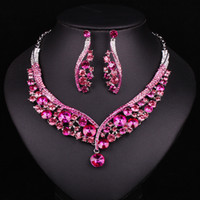 Wholesale Fashion Indian Jewellery Pink Crystal Necklace Earrings Bridal Jewelry Sets Wedding Accessories Decoration Christmas Gift Women