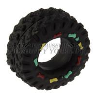 Wholesale 1pc Squeaky Squeaker Rubber ToysAnimal Sounds Tire Shape Pet Dog Toy Puppy Cat Chews Black Diameter cm